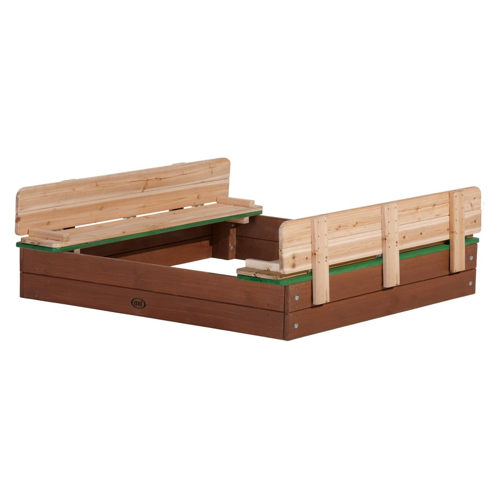AXI Sandkasten Ella aus Holz mit Deckel XL   Sand Kasten mit Sitzbank &  Abdeckung für Kinder   8 x 8 cm