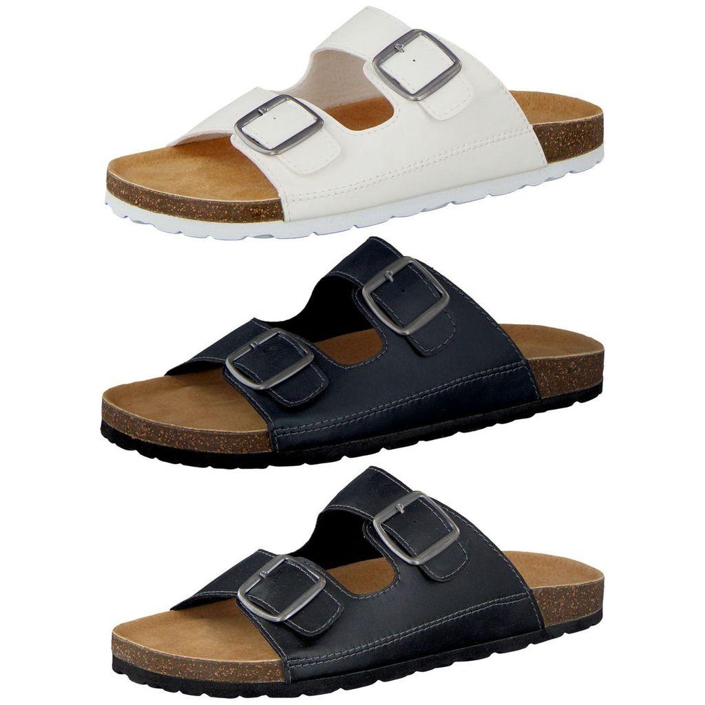 Navy Camprella Sandalen Herren Comfort Tieffußbett Pantoletten 3-Schnaller