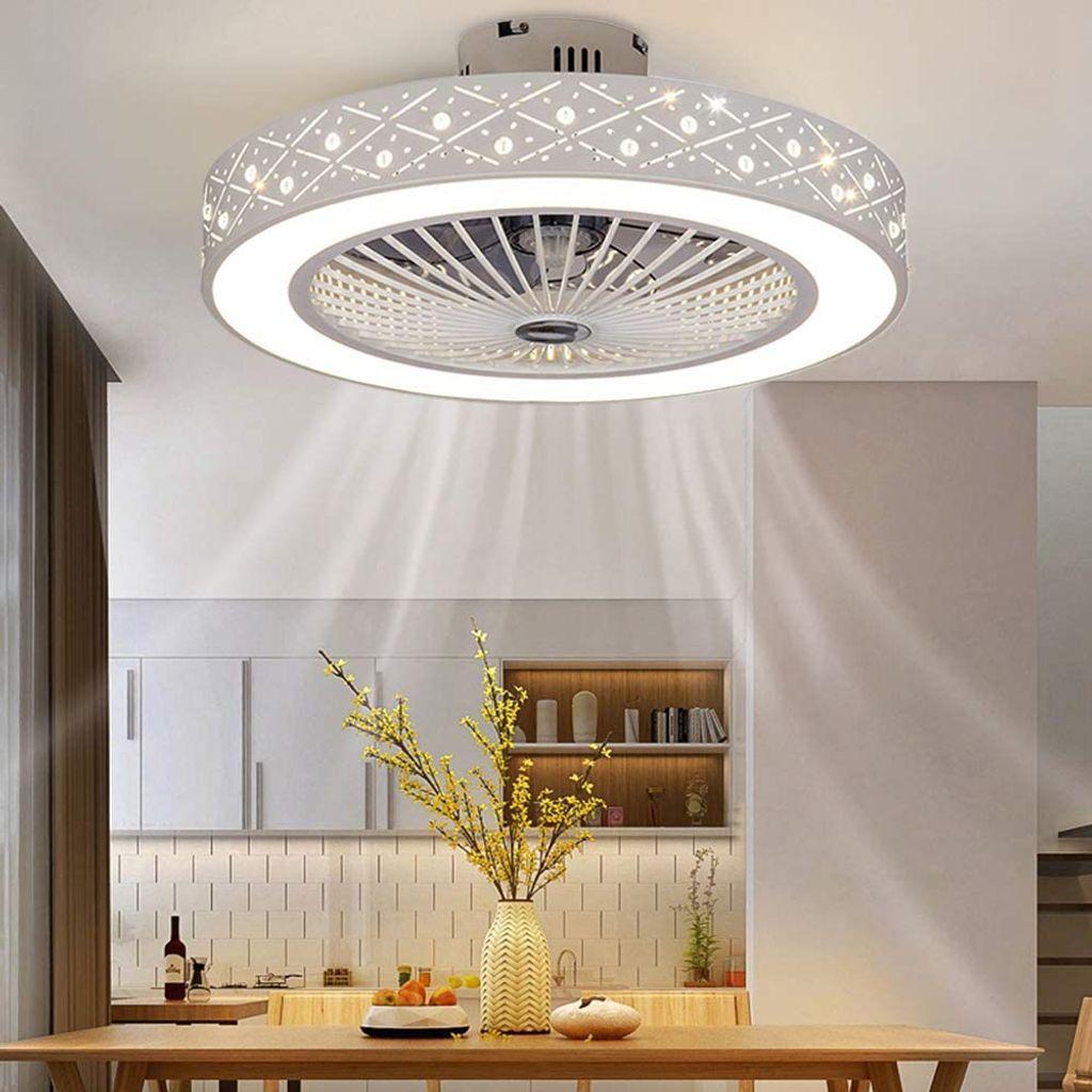 Modern 40W LED Brown Wei/ß Deckenventilator mit Beleuchtung Deckenleuchte Dimmbar mit Fernbedienung Leise Fan Deckenlampe Wohnzimmer Schlafzimmer Esszimmer Rund Design Wohnzimmerleuchte