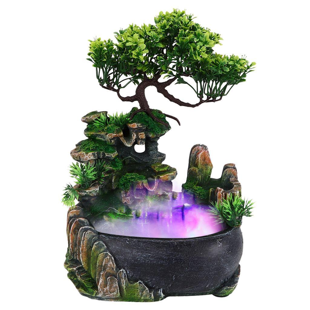 Zimmerbrunnen Mit LED Beleuchtung Tischbrunnen Wasserfall Steingarten Ornament