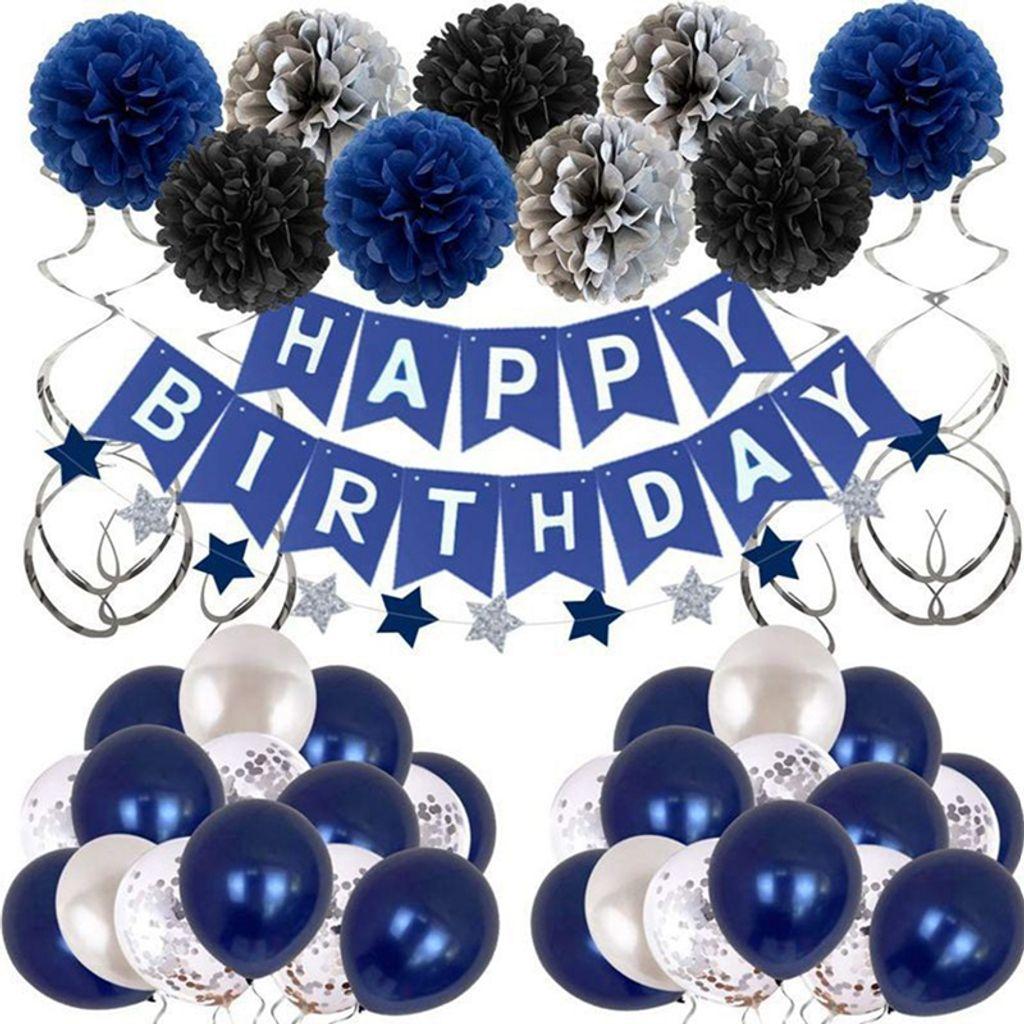 Unique Happy Birthday Geburtstag Party Deko Set   Girlande Konfetti Ballons  Blau