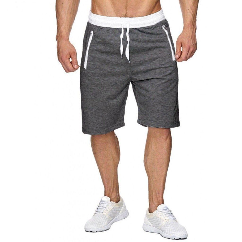 Blau Sporthose Bermudas Herren Sport Shorts Kurze Hose mit Reißverschluss Tasche