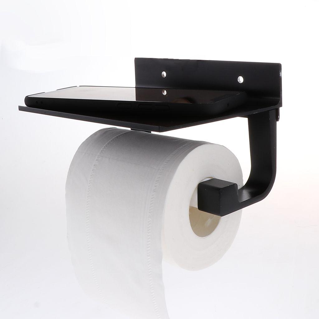 1xToilettenpapierhalter Ohne Bohren Mit Ablage Klopapierhalter WC Rollenhalter