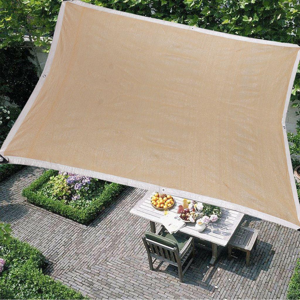 Meco Sonnensegel Rechteckig 20x20.20m Sonnenschutz Atmungsaktiv UV Schutz für  Balkon Terrasse Garten,Beige