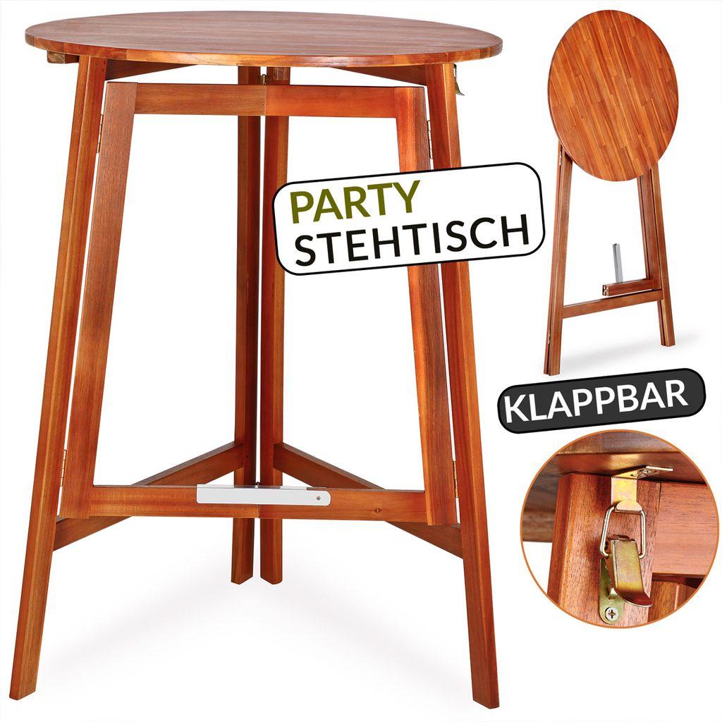 Stehtisch ZÜRICH Ø 78 cm Stahl//Massivholz Rund klappbar Tisch Garten Feier