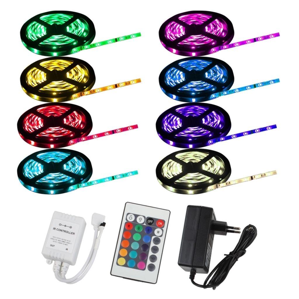 LED RGB 5m Home Lichtleiste Band Stripe TV Streifen Fernbedienung+Netzkabel