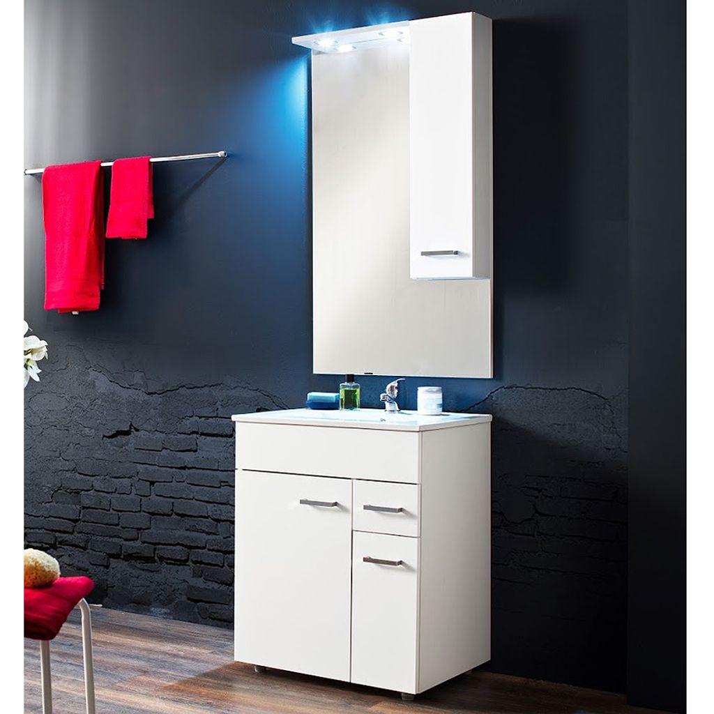 20 tlg Badmöbelset Unterschrank Waschbecken Spiegel Beleuchtung Minka Weiß  Glanz