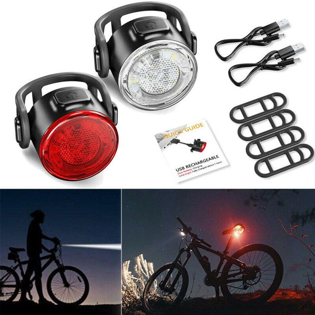 LED Fahrradlicht Set Vorne Hinten Fahrradbeleuchtung Lampe Aufladbar USB