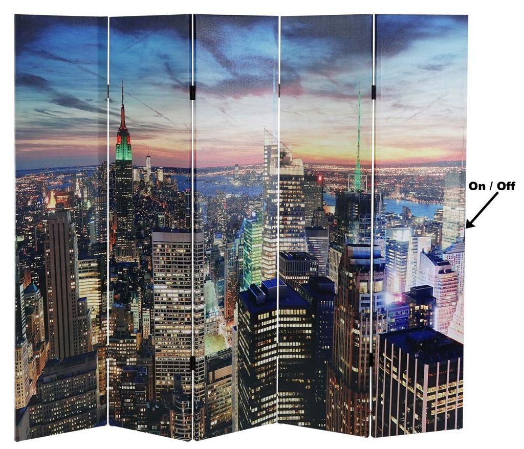 Trennwand Raumteiler Timer netzbetrieben 180x160cm 28 LEDs Mendler LED-Paravent Light up