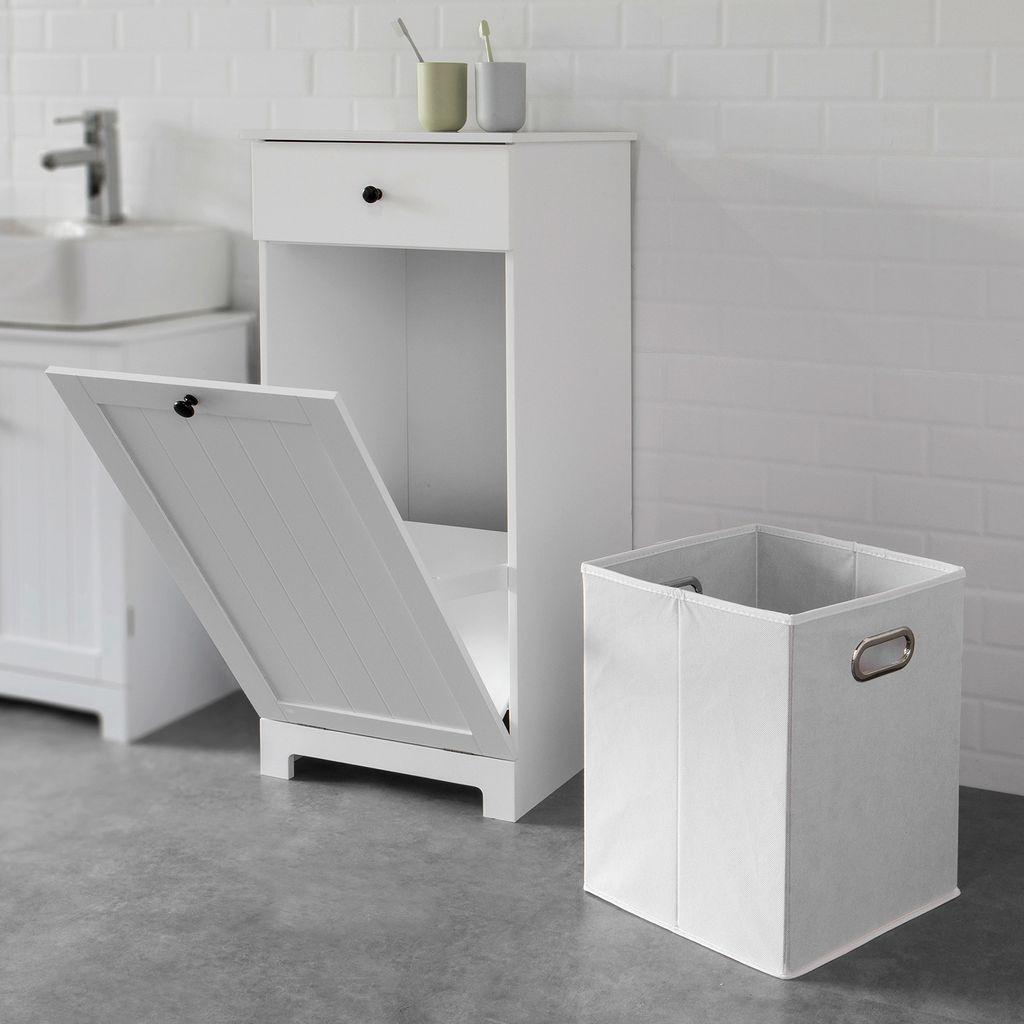 SoBuy BZR20 W Wäscheschrank mit ausklappbarem Wäschesack Wäschetruhe  Wäschesammler mit Schubladen Wäschekorb Badschrank Weiss