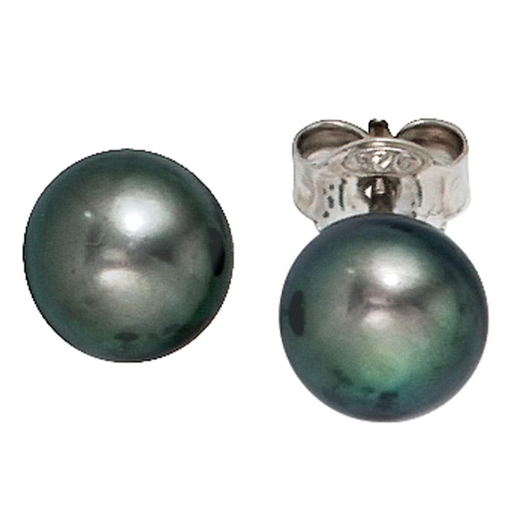 Damen Ohrstecker 925 Sterling Silber 2 Süßwasser Perlen 2 Zirkonia Ohrringe.