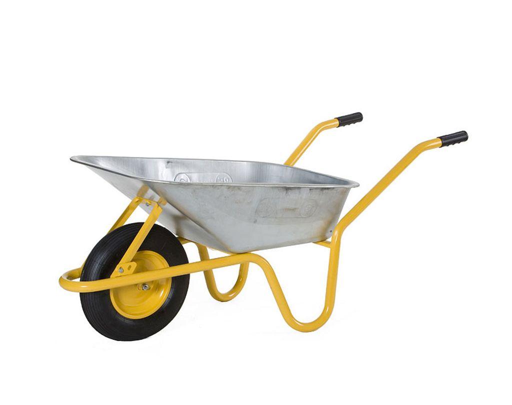 Grau 85 Liter LIMEX Schubkarre Bauschubkarre Gartenkarre Mulde verzinkt