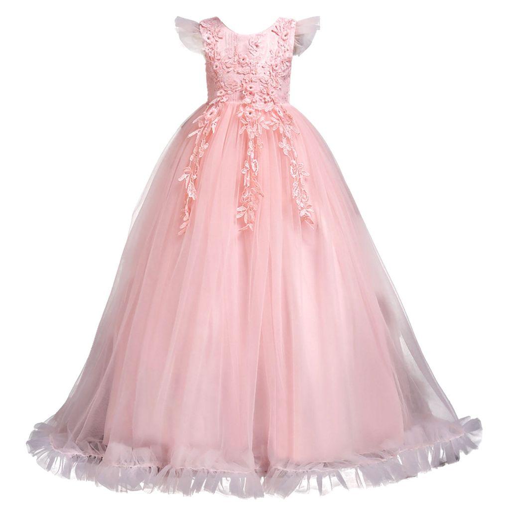 IEFIEL Mädchen Kleid festlich Spitze Hochzeit Prinzessin Kleider langes  Blumenmädchenkleid,Rosa,Gr.9 9