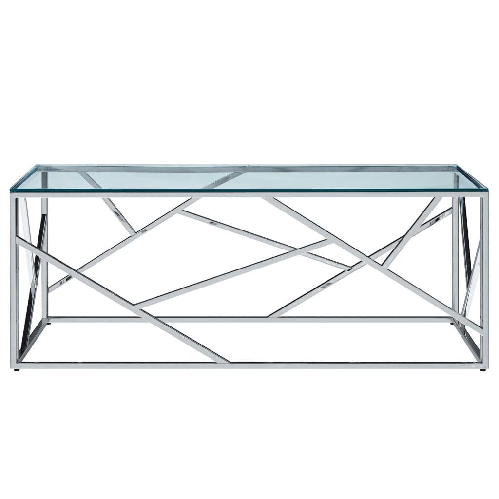 yocmall Couchtisch Transparent 12×12×12 cm Gehärtetes Glas Edelstahl
