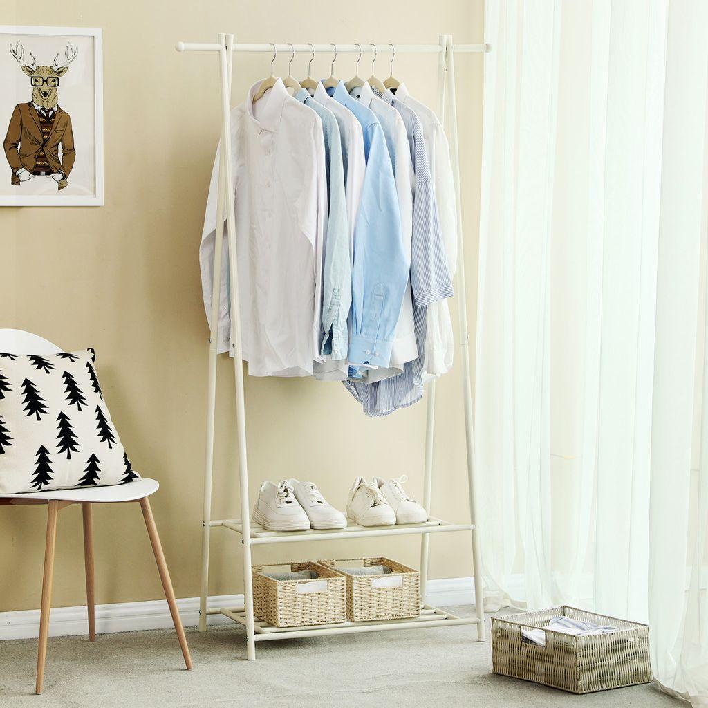 SONGMICS Metall Garderobenständer mit Schuhablage weiß 9 x 9,9 x 9 cm  Kleiderständer HSR09W