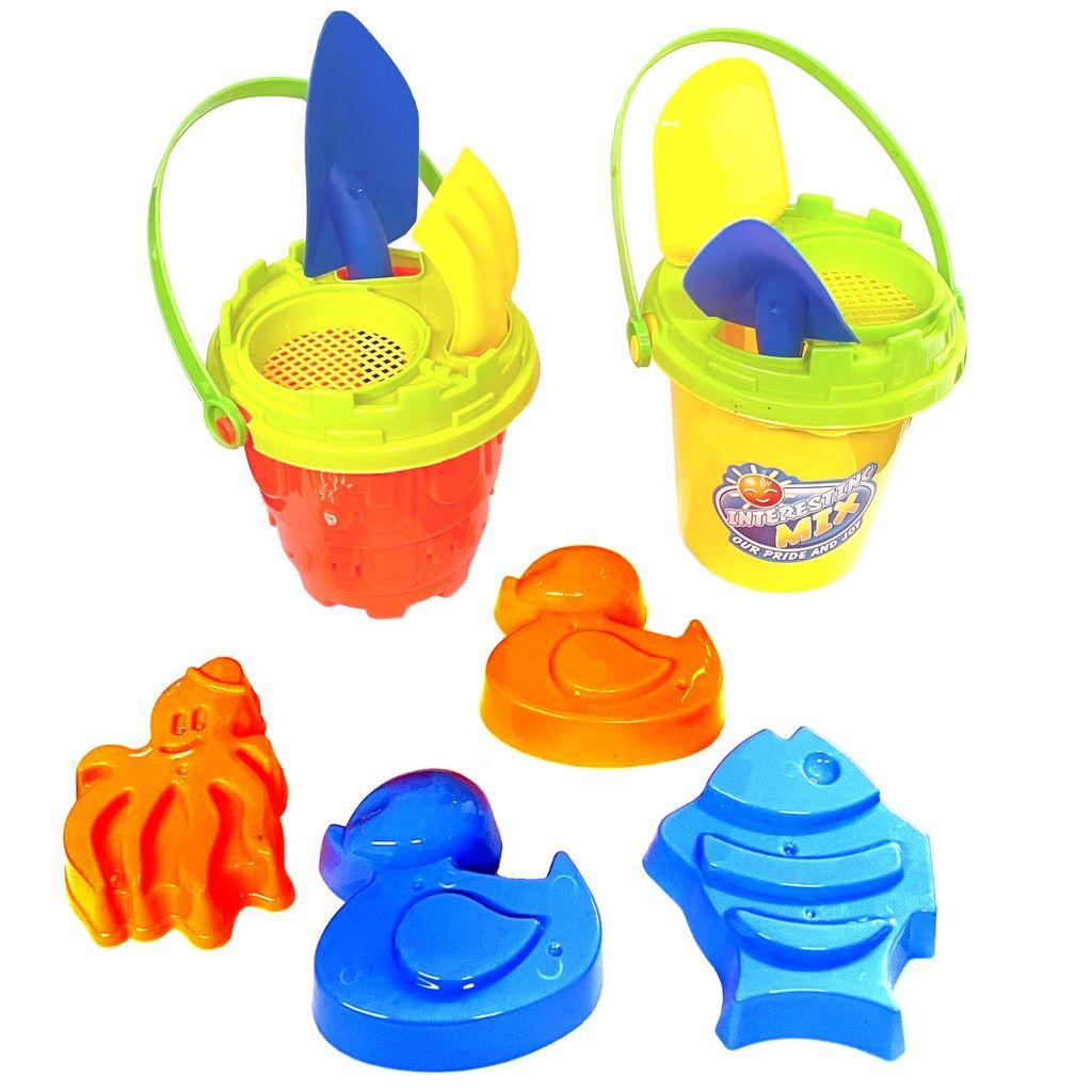 6 x Sandeimer Sandspielzeug-Set 7tlg Strandspielzeug Förmchen Gießkanne Schaufel