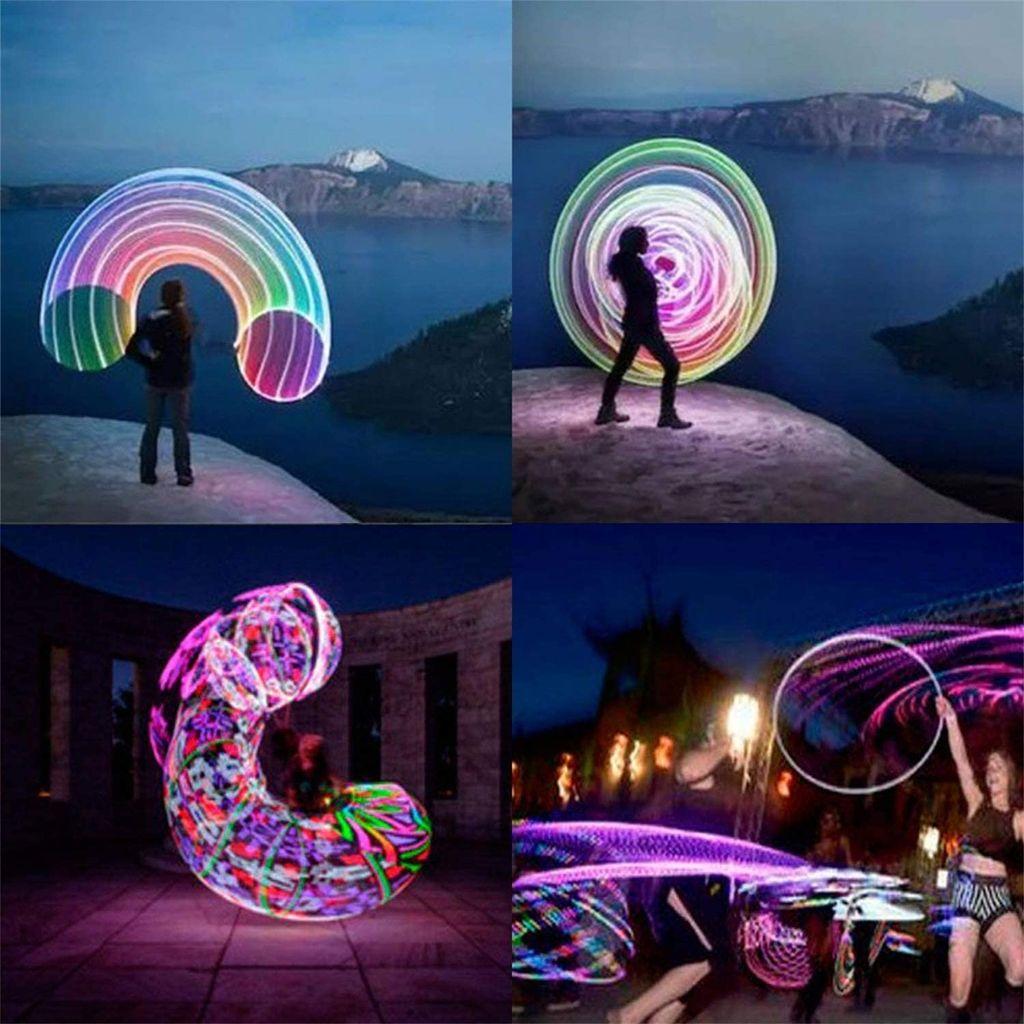 Erwachsene Kinder Sport Hula Hoops LED Glühende bunte Fitness Bauchübung