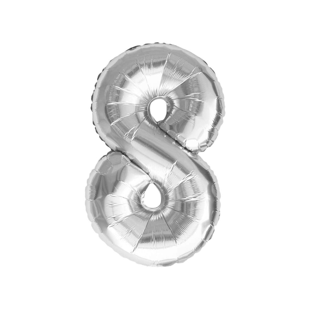 Oblique Unique Folien Luftballon mit Zahl 8 Geburtstag Jubiläum Party Deko  Ballon   silber