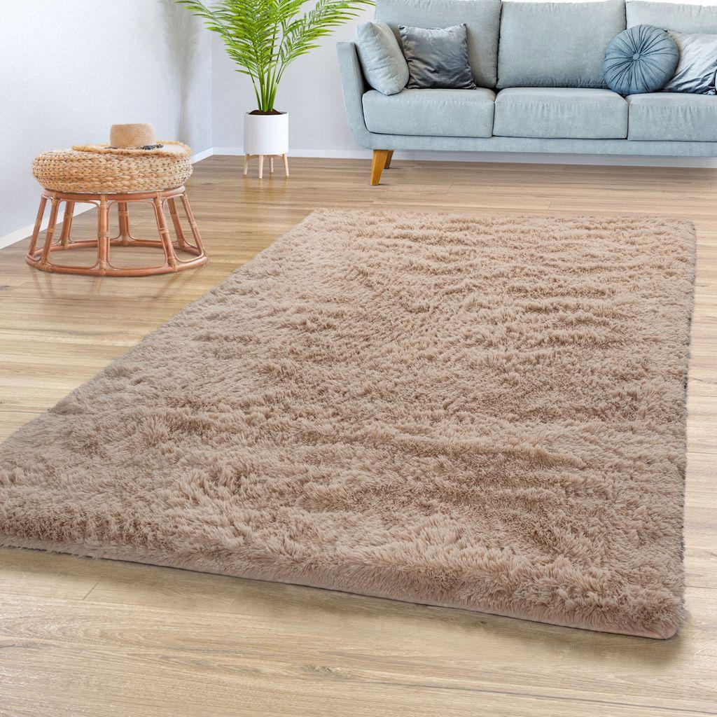 Teppich Wohnzimmer Hochflor Shaggy Weich Modernes Einfarbiges Design In  Beige, Größe50x50 cm