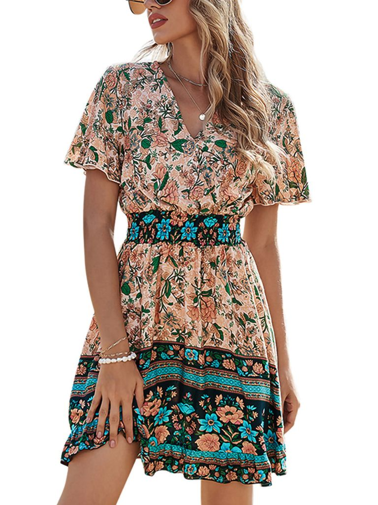 Damen A Linie Kleid V Ausschnitt Sommer Kaufland De