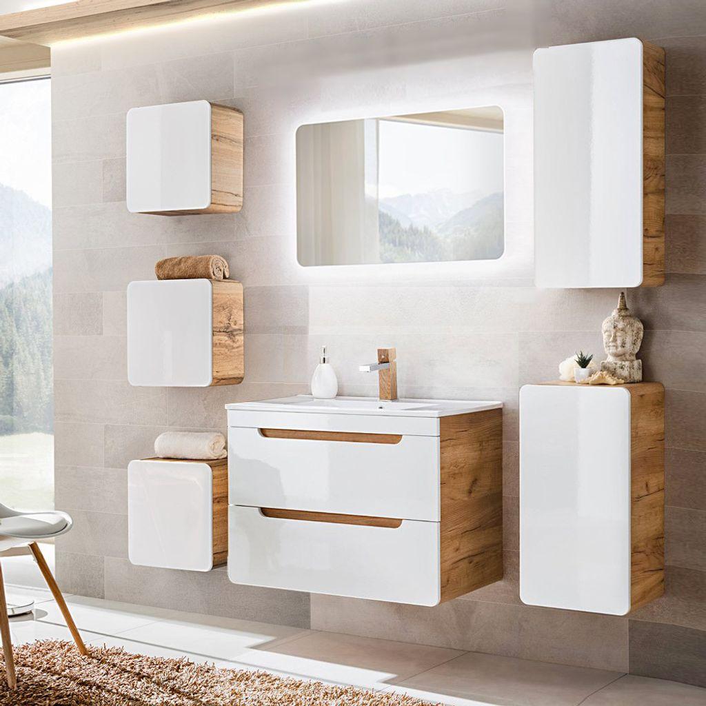 Badezimmermöbel Set mit 20cm Waschtisch & LED Spiegel LUTON 20 Hochglanz  weiß mit Wotaneiche, B/H/T ca. 120/20/20cm