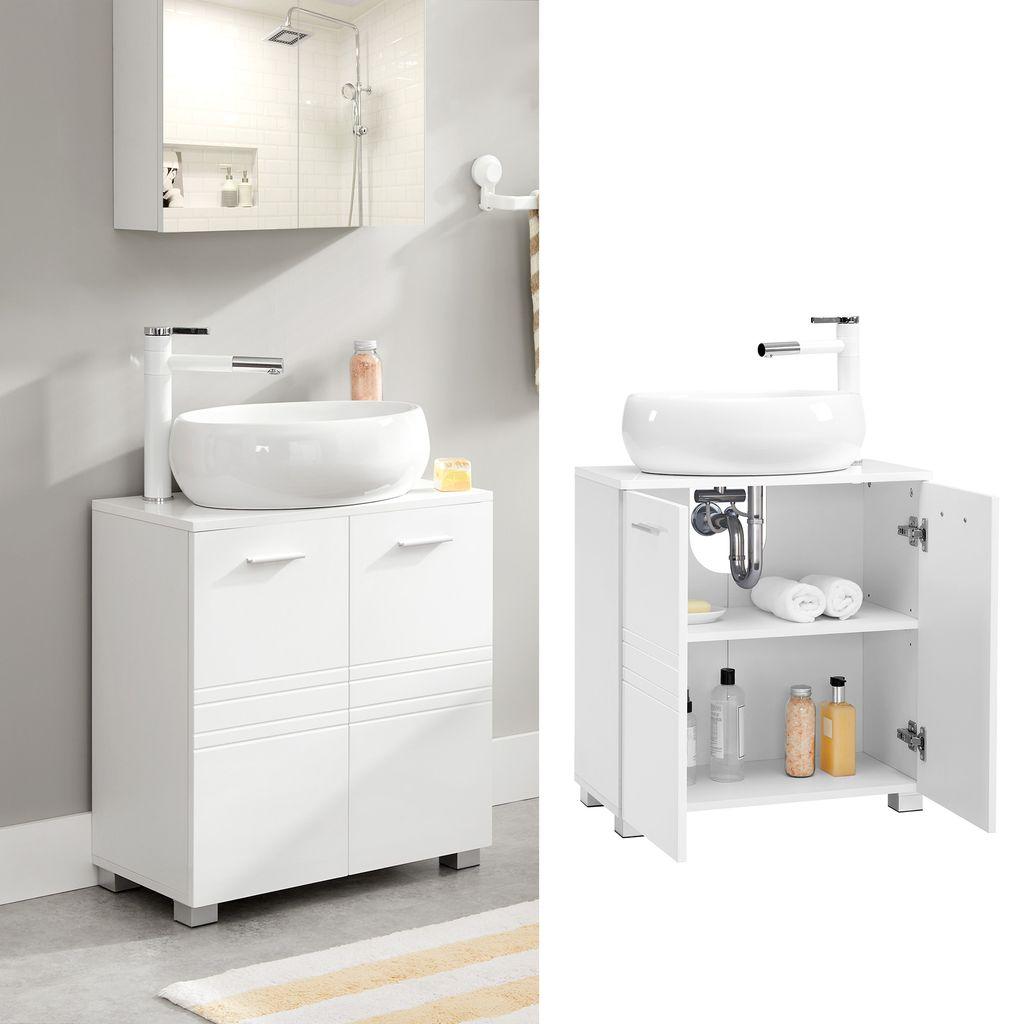 VASAGLE Waschbeckenunterschrank, 20 x 20 x 20 cm, Badezimmerschrank mit  Doppeltür, Badschrank mit verstellbarer Regalebene, Unterschrank mit ...
