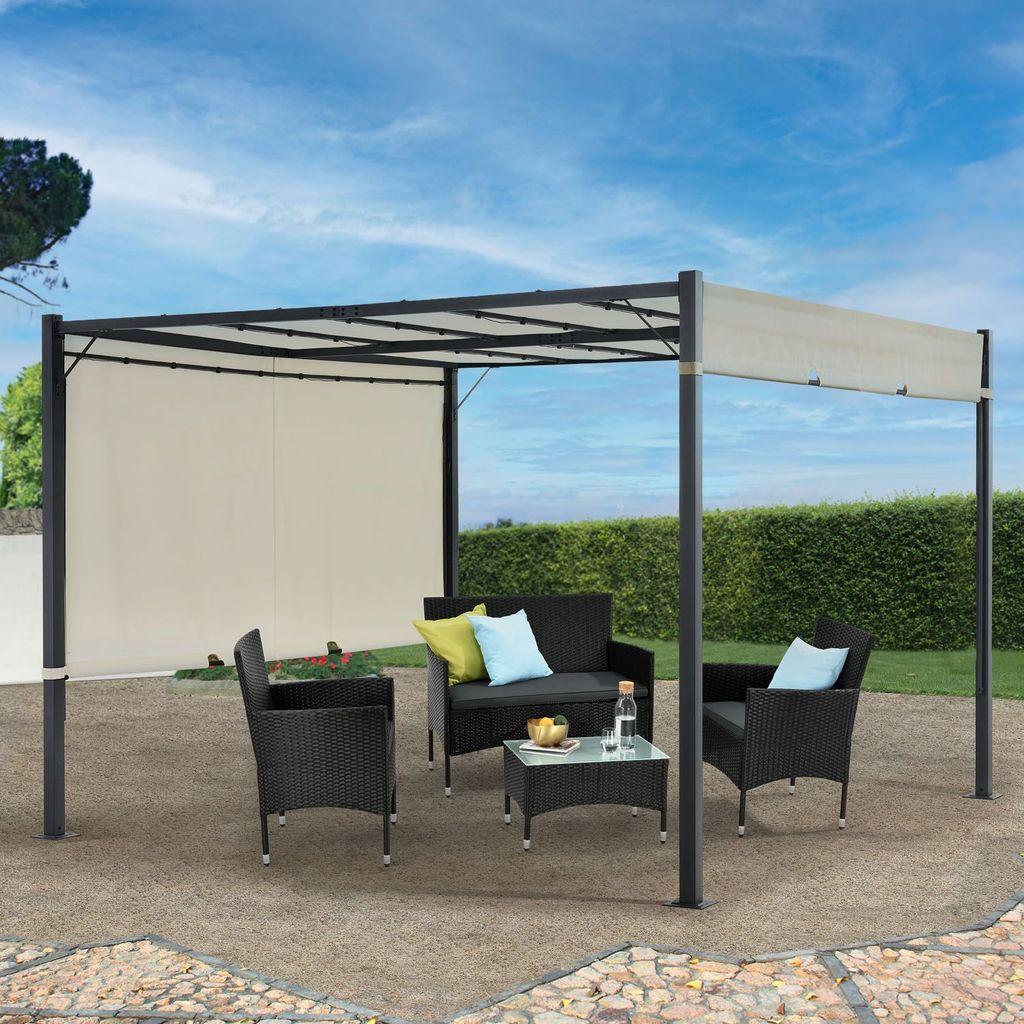 Juskys Pavillon CAVO PRO 20x20 m – Outdoor Pergola wasserabweisend mit LED  Beleuchtung, variables Dach – Sonnenschutz für Garten & Terrasse   Beige