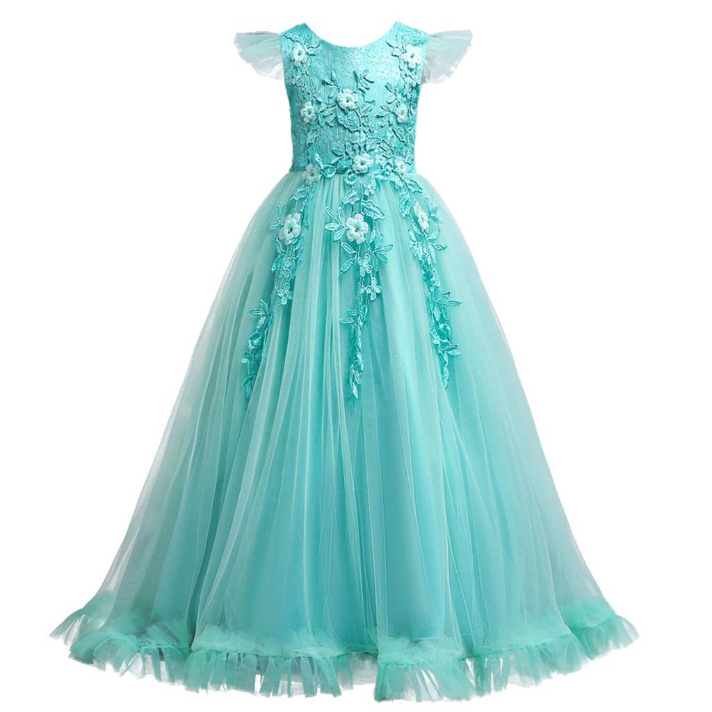 IEFIEL Mädchen Kleid festlich Spitze Hochzeit Prinzessin Kleider langes  Blumenmädchenkleid,Grün,Gr.9 9