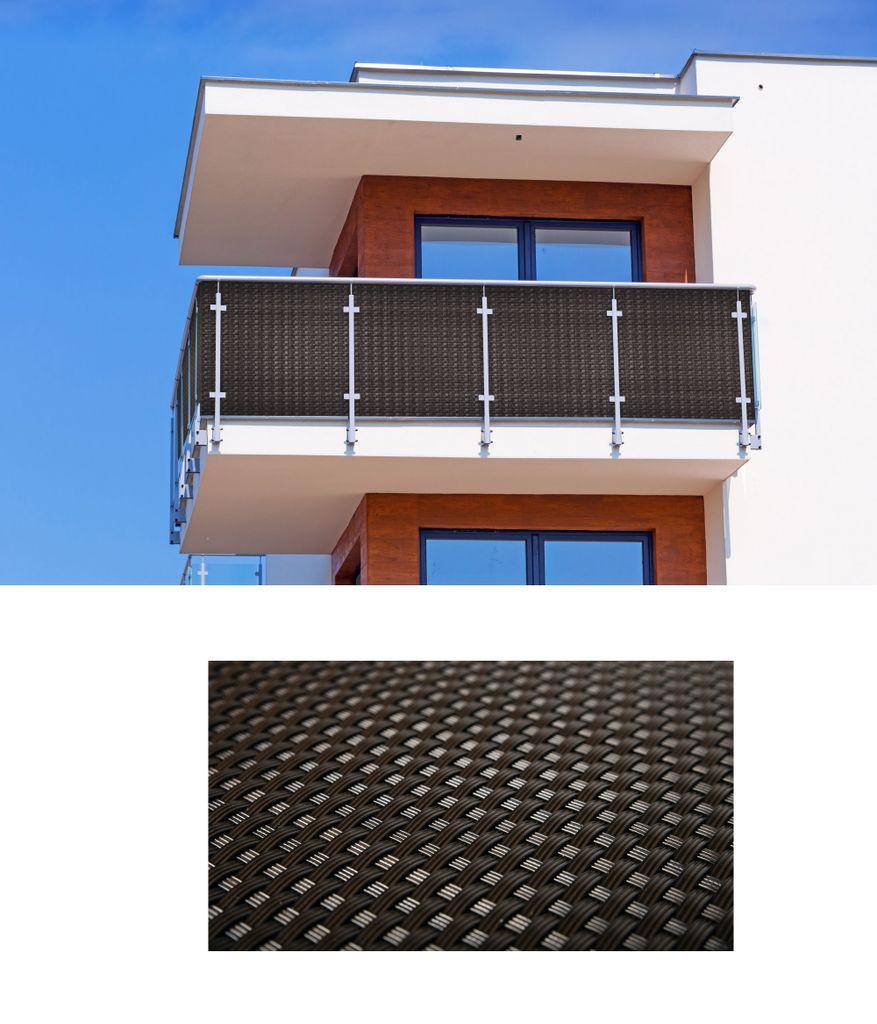 Polyrattan PVC Sichtschutzmatte 8x8 Balkon Sichtschutz Zaun Windschutz  braun