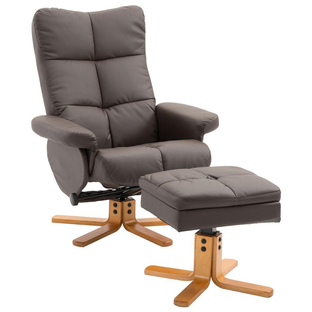 HOMCOM Relaxsessel Fernsehsessel Sessel mit Hocker Liegefunktion  Holzgestell Braun 20 x 20 x 20cm