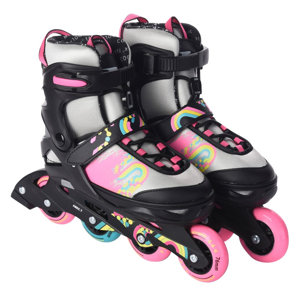 Sports Inliner Skate Canvas Softboot Kinder Jugend Damen Gr/ö/ßenverstellung 5 Gr/ö/ßen Verstellbar 33-37 und 37-41 L.A