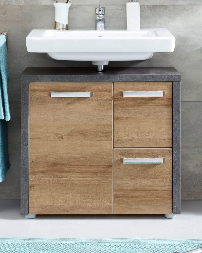 Waschbeckenunterschrank in Eiche Honig und grau Beton Design Waschtisch  Unterschrank 20 x 20 cm mit Soft Close und Chrom Griffen Badmöbel Bay