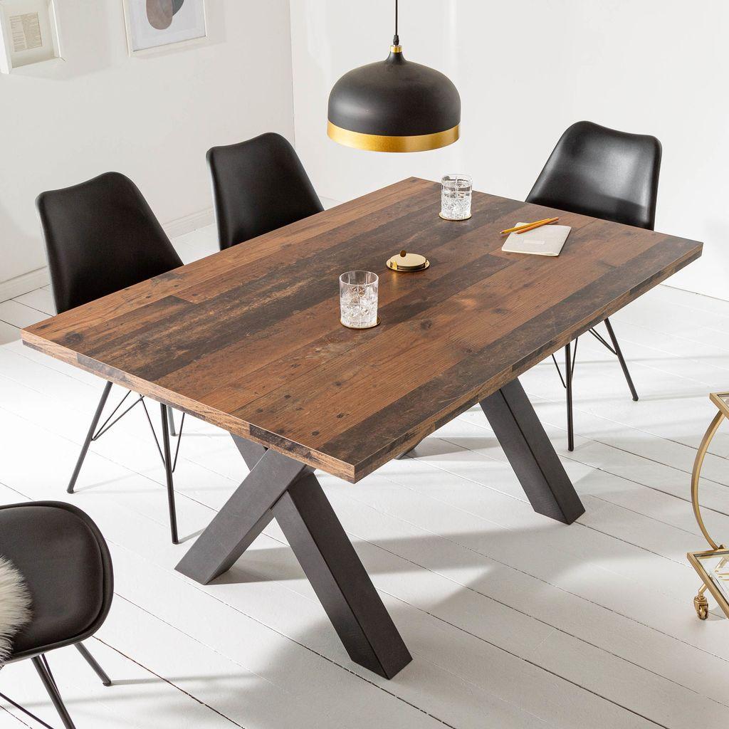 17 Industrial Esstisch MONTREAL 10cm dunkle Eichenoptik mit schwarzen  X Beinen Konferenztisch Tisch