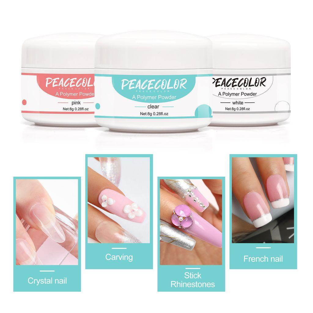 Acryl nagelset pulver set Acrylic Nail Kit Acrylpulver und Flüssigkeit  Acryl Puder Set professionelle Nageldesign für Nagelstudio oder Starter