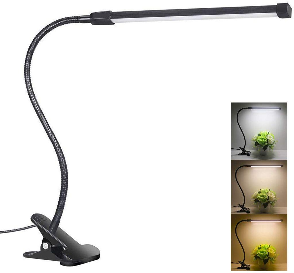 LED Tischleuchte Büro Schreibtischlampe Computer Leselampe USB Klemmleuchte