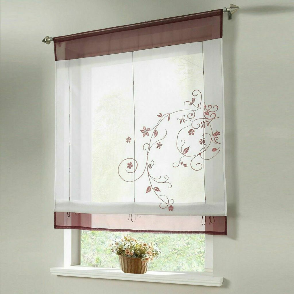 20x20cm Durchscheinend Raffrollo Bestickt Raffgardine Fenstervorhang  Scheibengardinen Lila