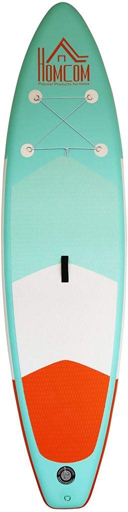 HOMCOM Aufblasbares Surfbrett Surfboard Stand Up Board mit Paddel PVC Grün