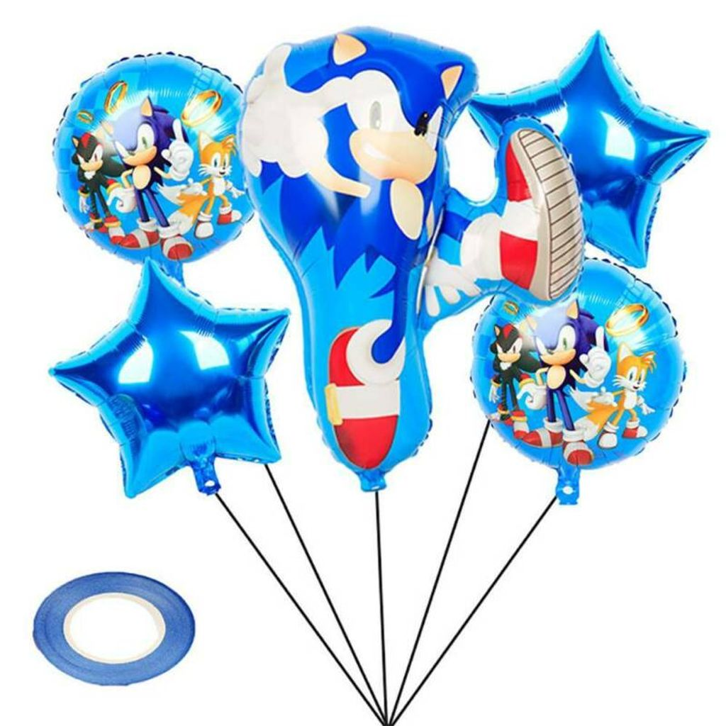 Sonic Luftballons Kinder Baby Geburtstag Deko Sonic the Hedgehog Party  Ballons Motiv Folienballons Blau