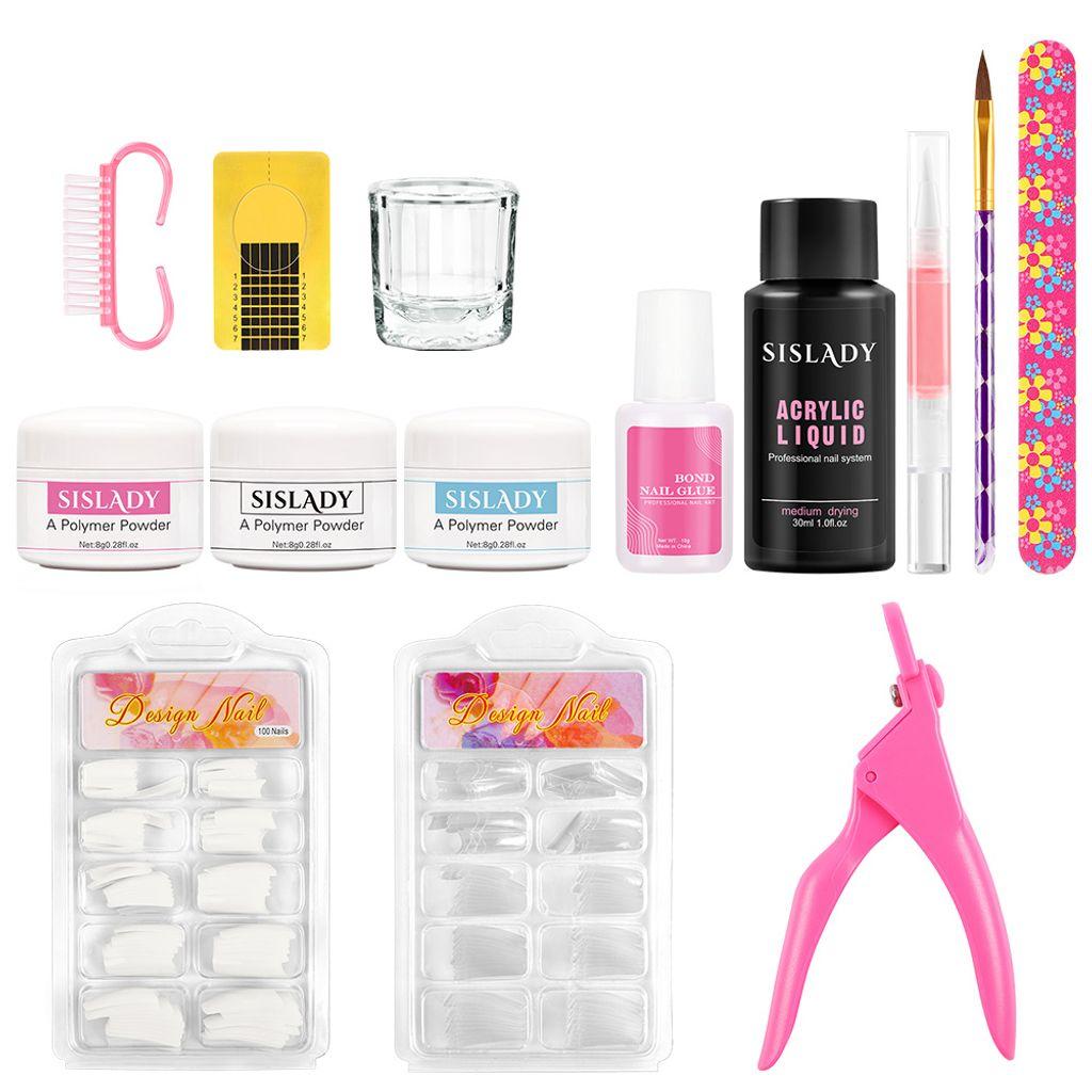 Acryl Nägel Set 25x Acrylpuder Arcylpinsel Nagelstudio Starterset Nail Art  Acryl Nagel Set plus Acryl Liquid 250ml & Tipcutter Acrylpuder weiß klar  rosa ...