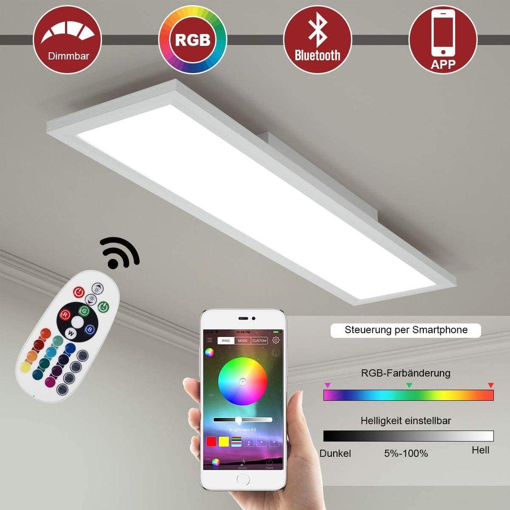 COSTWAY LED Deckenleuchte, RGB Lichtpaneel mit App Steuerung, Bluetooth,  Lichtwechsel mit Fernbedienung, bunt und dimmbar/ 20K 20K / 20W / 20  ...