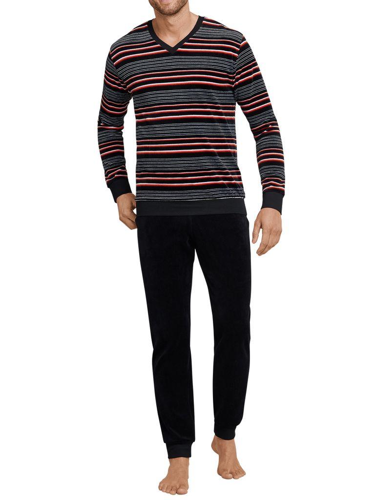 SCHIESSER Herren Schlafanzug Schwarz mit Druck Baumwolle