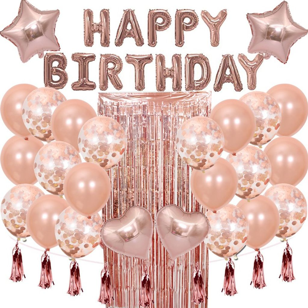 13+ Oblique Unique Geburtstag Party Deko Set   Happy Birthday + Herzen Folien  Luftballons Konfetti Ballons Roségold Galerie