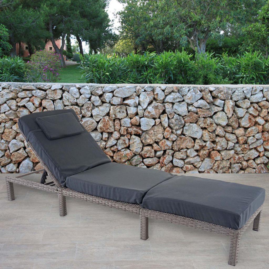 Gartenliege Relaxliege Liege Poly-Rattan ~ grau Mendler Sonnenliege HWC-D80 Kissen beige