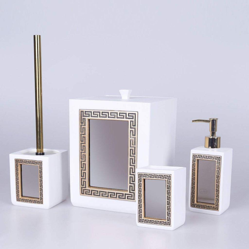 Veroni Badezimmer Set 20 teilig in Weißgold mit Goldener Mäander Relief  Verzierung mit Spiegel