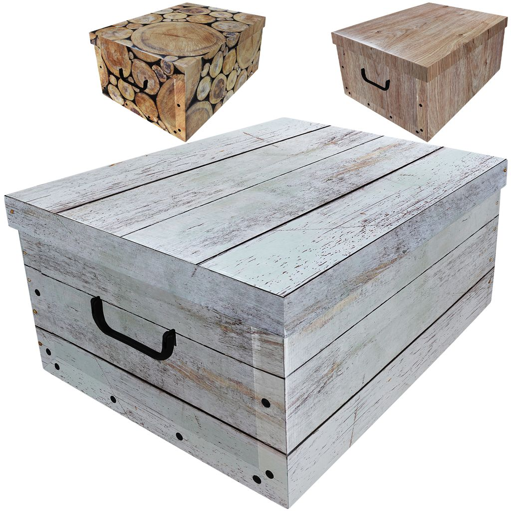 Aufbewahrungsbox 20L mit Deckel Holz Design 20er Set Pappe  Aufbewahrungskiste Truhe Aufbewahrung Schachtel