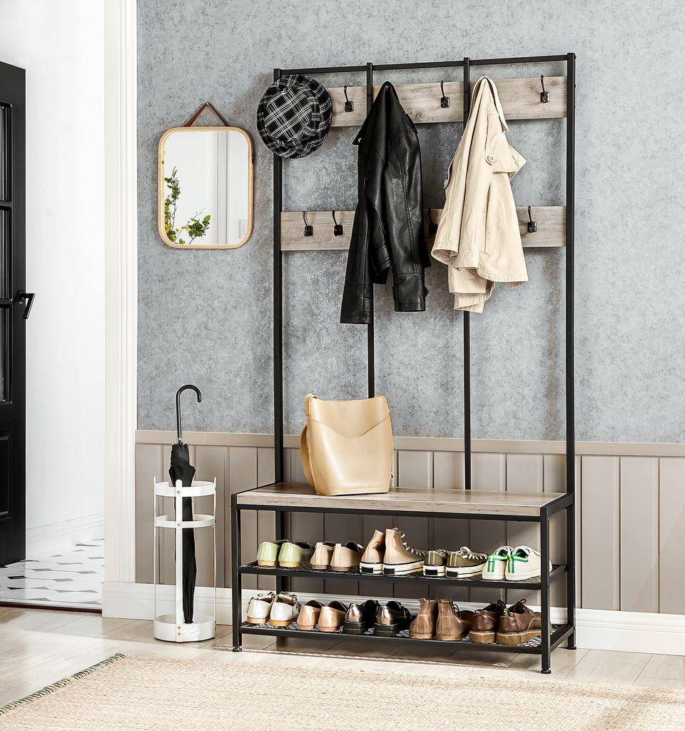 VASAGLE Garderobenständer mit Schuhablage 20 x 20 x 20 cm    Kleiderständer mit Sitzbank 20 Haken stabiles Eisengestell Greige Schwarz  HSR20B20
