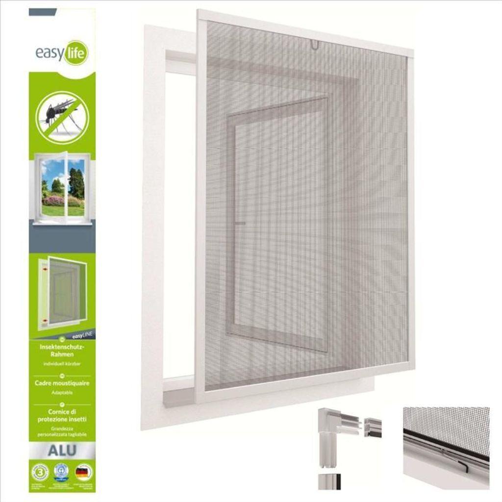 Insektenschutzfenster Alu Fliegengitter 20x20cm easyLINE Grau