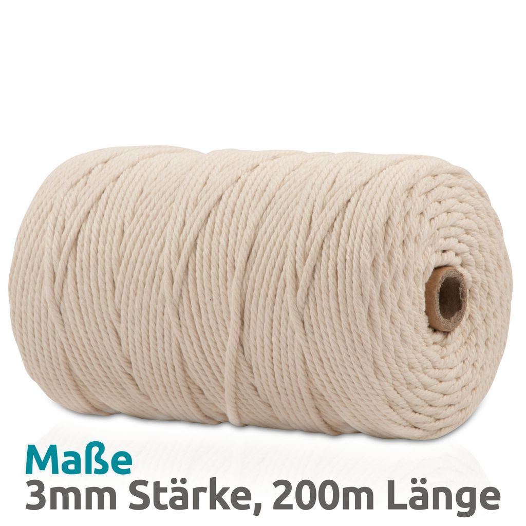 OEKO-TEX Einzelstrang 100 /% nat\u00fcrliche Makramee Seil 200 m Makramee Garn 3mm0,12 gezwirnt Makramee Schnur Macrame Cord