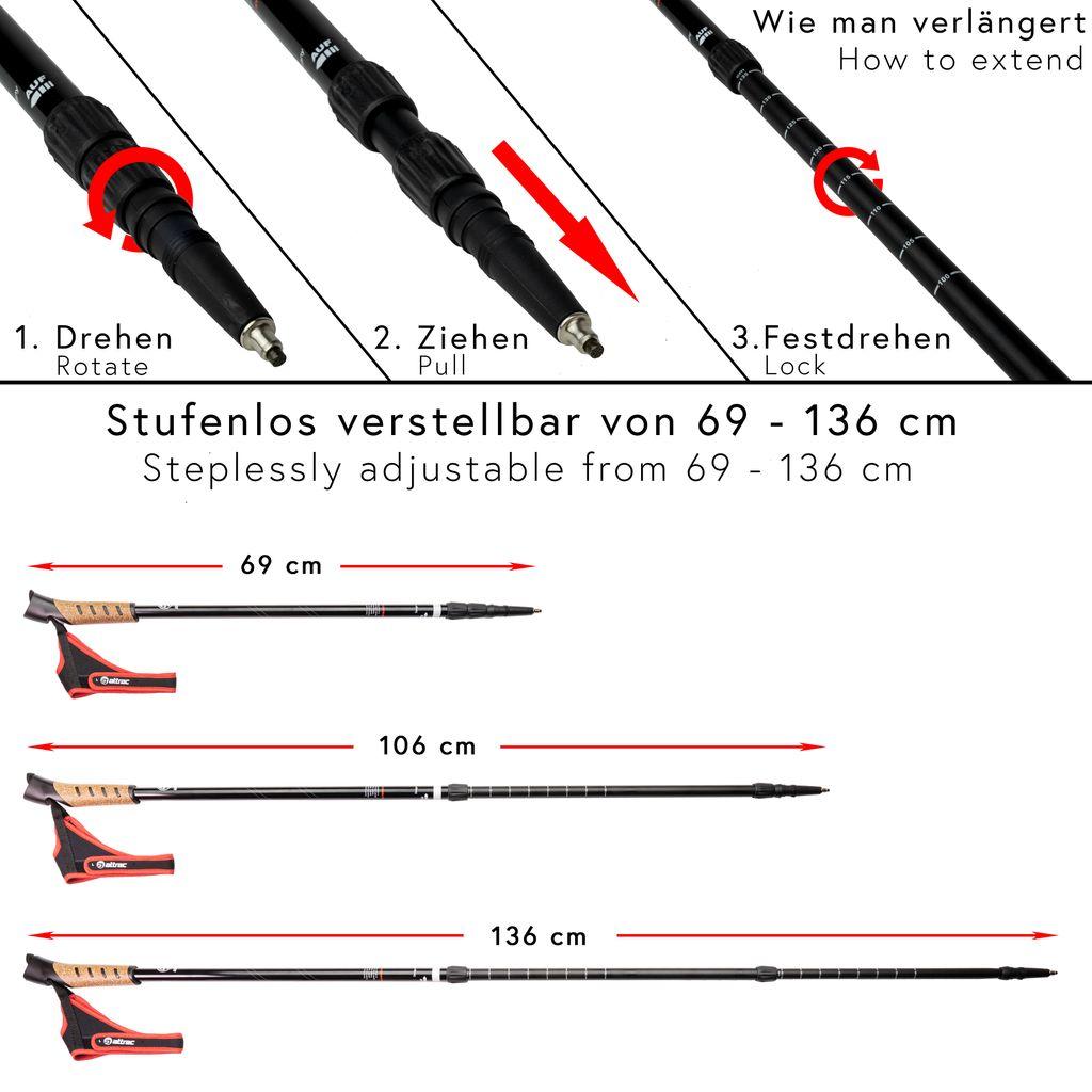 ATTRAC Nordic Walking Stöcke *Partner-Paket* Teleskop Verstellbar inkl Nordic