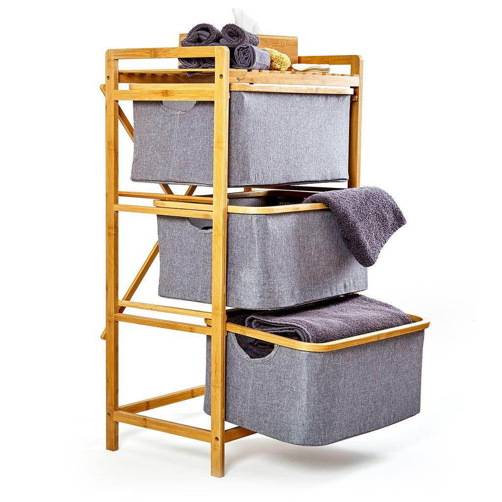 blumfeldt Wäscheregal , Wäschesammler , Korbregal , Badezimmer Möbel , 20  Etagen , einfacher Aufbau , aus Bambus und Baumwollleinen , 20 Schubfächer  mit ...